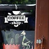 Etiqueta de la pared Café Cafetería Taza de café caliente Frijol Etiqueta de vinilo de pared Patrón Calcomanía de pared Decoración Cocina