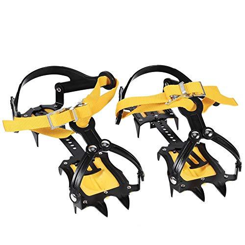 Yosoo Steigeisen (ohne Schuhe) 1 Paar rutschfeste 10-Zahn-Stahl-EIS-Traktionsspikes mit Einstellbarer Rutschfester, elastischer Schneeschuhspitze