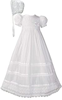 """Little Things Mean A Lot 30"""" Cotton Batiste White Christening Baptism Gown with Cluny Trim and Bonnet"""