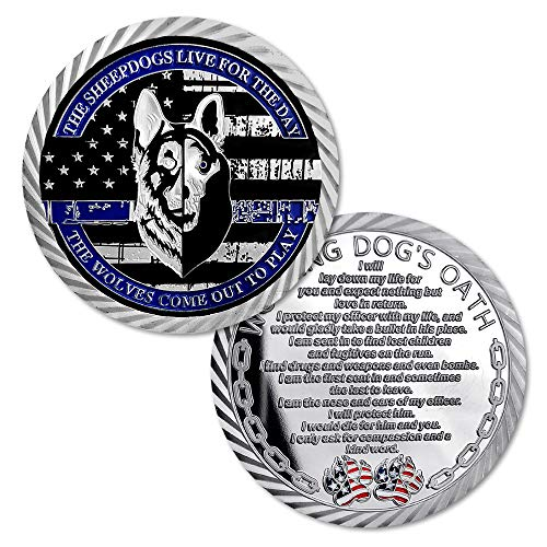 United States K9 Police Challenge Coin Thin Blue Line Law Enforcement Collector Gift