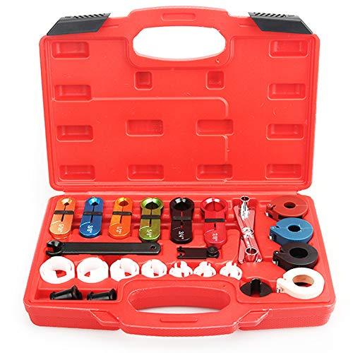 Kit maestro de herramientas de desconexión rápida de 22 piezas con removedor de tipo tijera, compatible Ford Chevy GM - para automotriz AC combustible línea y transmisión aceite enfriador línea, Negro