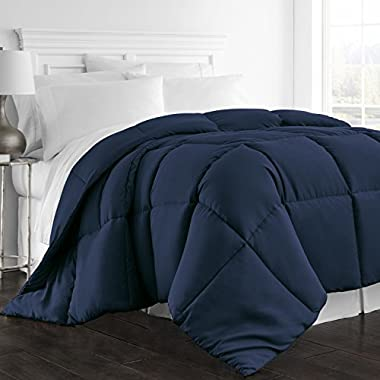 Beckham Hotel Collection 1300 Series - All Season - Luxury Goose Down Alternative Comforter - Hypoallergenic  - Full/Queen - Navy