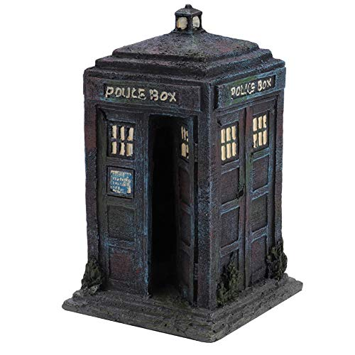 Durable Simulation Resin Sentry Box Aquarium Decorations Simulation Damaged Police Box Shelter Fish Tank Aquarium Ornaments Decor