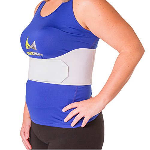 "BraceAbility Rib Injury Binder Belt | Women's Rib Cage Protector Wrap for Sore or Bruised Ribs Support, Sternum Injuries, Pulled Muscle Pain and Strain Treatment (Female - Fits 34""-60"" Chest)"