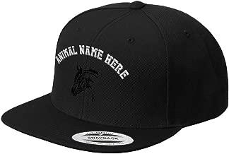 Custom Snapback Baseball Hat Horse Head Outline Embroidery Animal Name Acrylic