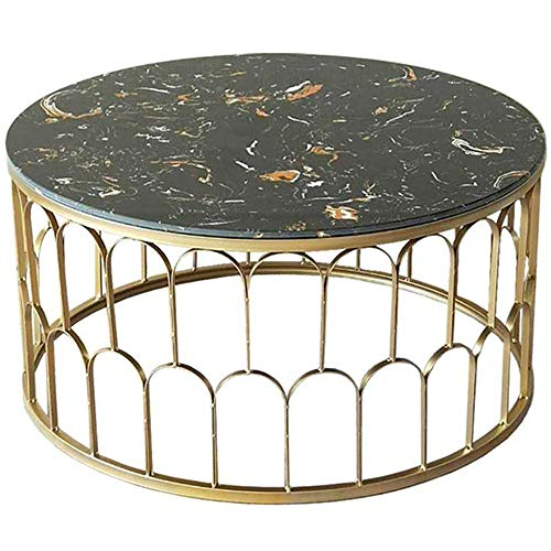 Modern Furniture Coffee End Tables Natural Marble Desk Top Side Table Round Occasional Stand Tea Table for Living Room, in Golden Legs And Black Top