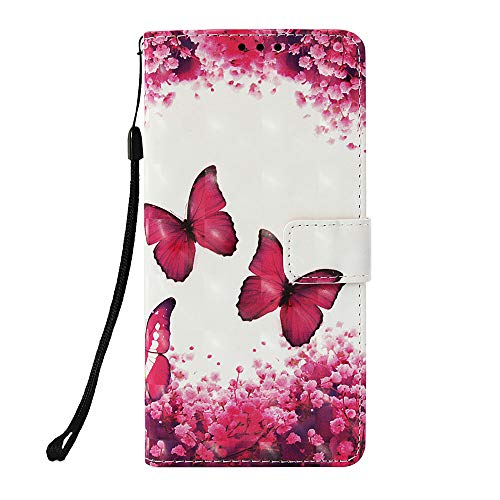 Funluna Hülle Für Sony Xperia XA2 Plus, Stoßfest Brieftasche Lederhülle, Trageschlaufe, Ständer, Kartenfächer, Magnetverschluss, Silikon Handytasche, Rosa Schmetterling