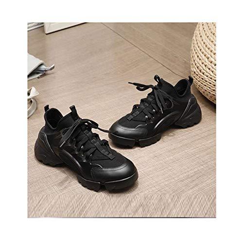 HaoLin Mujeres Calzado Deportivo para Aumentar La Altura Zapatos de Malla Casual Slip-On Transpirable Ligero Gimnasio,Black-34 EU