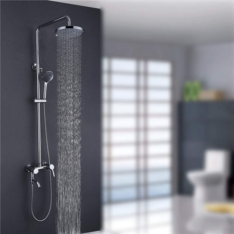 ZHH shower set wall mounted shower multi-function shower lift shower set full copper shower hand shower