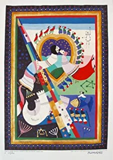 Wall Art by Raphael Abecassis Mazal Tov Love Hand Signed Limited Edition Serigraph Print. After the Original Painting or Drawing. Measures 19 X 13.5 Inches , 17 X 12 Inches
