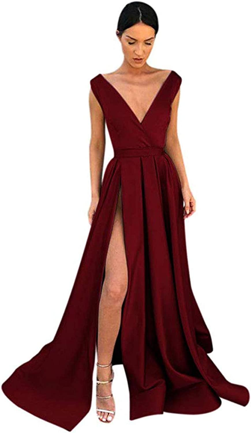Fashionbride Women's Sexy Long Evening Dress V Neck Satin Front Slit Prom Dresses with Pockets