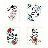 4 juegos de 20 x 25 cm de flores de color y 4 marcos de fotos, DIY Live Love Smiles palabras inspiradoras arte pared lienzo moderno pegatinas de pared carteles decoración de habitación