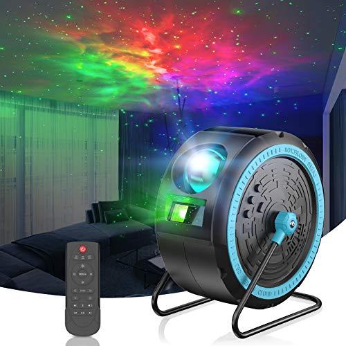 LED Sternenhimmel Projektor Lampe,Galaxy Projector Light mit Fernbedienung Kann aufgehängt/mitFernbedienung/Bluetooth/360°Drehen Musik Player ,für Schlafzimmer,Heimkino,Raumdekoration,Party(schwarz)