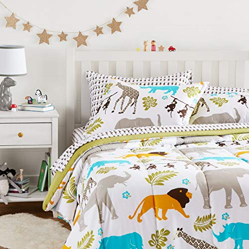 Amazon Basics Easy Care Super Soft Microfiber Kid s Bed-in-a-Bag Bedding Set - Full / Queen  Multi-Color Zoo Animals