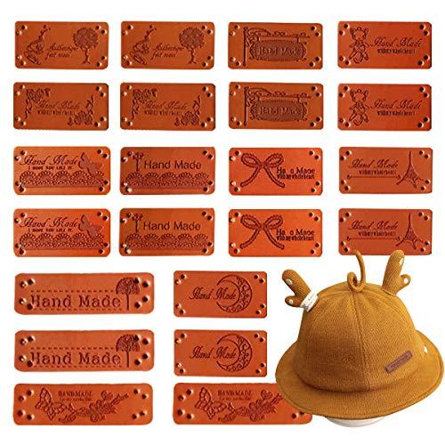 Osuter 55PCS Etiqueta Cuero Hecho a Mano con Agujeros Etiquetas Handmade Personalizadas para DIY Artesanía Bolsos Sombrero Coser