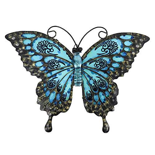 BGHYU Mariposa Azul de la decoración de la Pared para el hogar y el jardín Decoración al Aire Libre Estatuas Miniaturas Esculturas-A