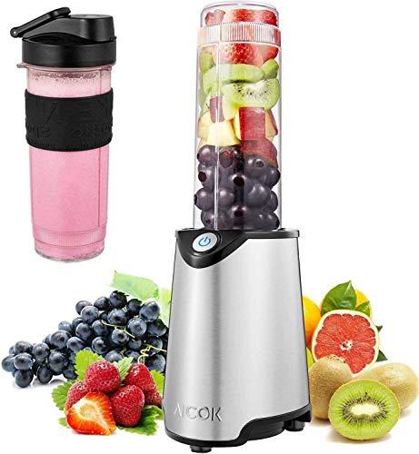 Mixer Smoothie Maker AICOK Mini Standmixer Nutribullet 300W mit 600 ml BPA-frei Tragbar Tritan-Trinkflaschen für Shake, Smoothie, gefrorene früchte, Getänk von Obst und Gemüse, Easy to Use, 23000RPM