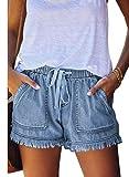 Acelitt Womens Ladies Frayed Raw Hem Tencel Drawstring Casual Elastic Waist Denim Jean Shorts for Women with Pockets Sky Blue L