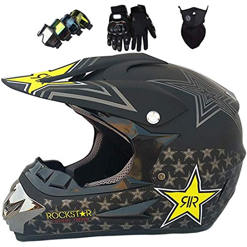 Casco de motocross para niños, Casco choque ATV motocicleta todoterreno MTB cara completa para adultos con máscara guantes de gafas, Equipo protector de casco de choque todoterreno, Certificación ECE