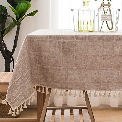 Ayanxt - Mantel moderno y sencillo, de entramado de algodón y lino con borlas nórdicas a prueba de polvo para mesa de cocina o comedor (color: B, tamaño: 110 x 110 cm), B, 130x130cm