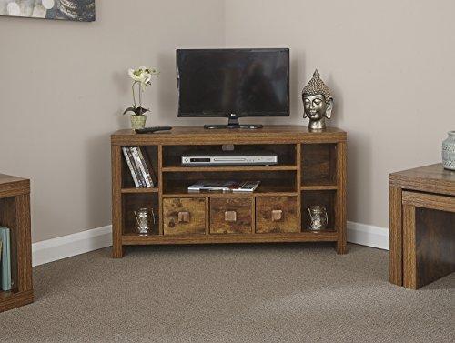 Home Source - Particle Board Sturdy Walnut Effect 3 Drawer 3 Shelf Corner TV Stand Unit