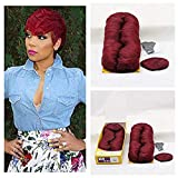 27 Pieces Human Hair Weave with Closure Wine...