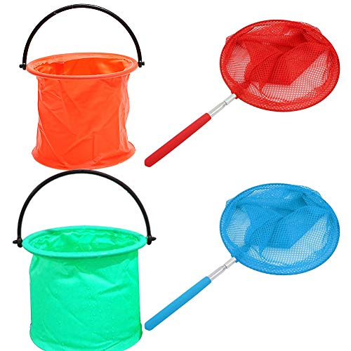 SIMUER 2Pcs Redes Telescópicas con 2Pcs Stretchable Handle Foldable Barrel,Butterfly Net Extensible...