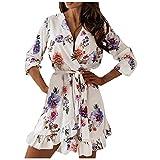Elegantes Damen-Kleid Curvy Mini-Kleid mit Volantärmel und langen Ärmeln, bedruckt, modisch, mit Schnürsenkeln, Weiß 2, Small