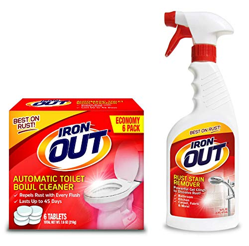 IRON out Rust Stain Remover Automatic Toilet Bowl Cleaner Tablets and Powerful Gel Spray