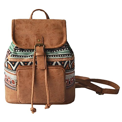 Dabixx donne stampa con coulisse vintage tela zaino Girls School Bags Brown, Tela, Yellow, 25 X 14 X 29CM / 9.75 X 5.46 X 11.31