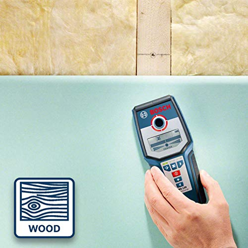 Bosch Professional Détecteur mural GMS 120 (profondeur de détection maxi bois/métaux magnétiques/métaux non-magnétiques/câbles sous tension : 38/120/80/50 mm, dans boîte en carton)