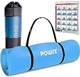 POWRX Tappetino Fitness Antiscivolo 190 x 80 x 1,5 cm - Ideale per Yoga, Pilates e Ginnastica - Extra Morbido e Spesso - Ecocompatibile con Tracolla e Sacca Trasporto + Poster (Celeste)