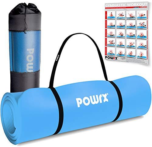 POWRX Gymnastikmatte Premium inkl. Trageband + Tasche + Übungsposter GRATIS I Hautfreundliche Fitnessmatte Phthalatfrei 190 x 60, 80 oder 100 x 1.5 cm (Blau, 190 x 80 x 1.5 cm)