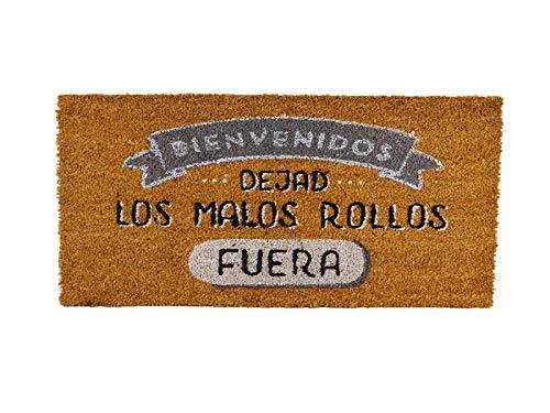 catay home Felpudo Antideslizante Fibra de Coco 40x70 centímetros Frase dejad los Malos Rollos Fuera
