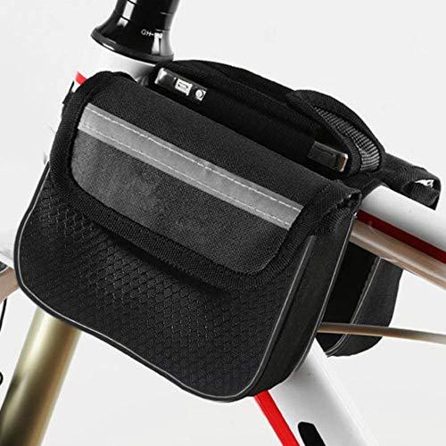 Piero Duurzame fiets met grote capaciteit Fietsmand Waterdichte buis Stuurtas Outdoor-accessoires, zwart