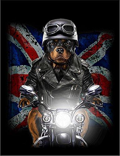 【FOX REPUBLIC】【バイクに乗る ロットワイヤー ユニオンジャック いぬ 犬】 黒光沢紙(フレーム無し)A4サイズ