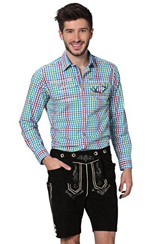 Stockerpoint Klederdrachtbroek Beppo2 – exclusieve duurzame lederen broek voor mannen, een hoogwaardige klederdrachtbroek in traditionele stijl van echt leer wildbock velours in zwart