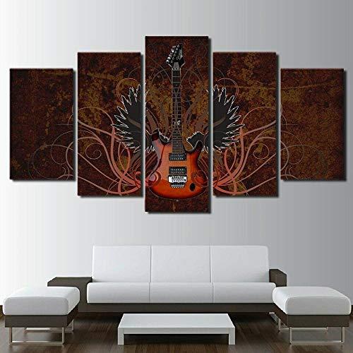 BHJIO Impresiones En Lienzo 5 Piezas Abstract Guitar Poster HD En Lienzo Modular Modern Interior Decorations Wall Art Tamaño Regalo 150 * 80Cm.