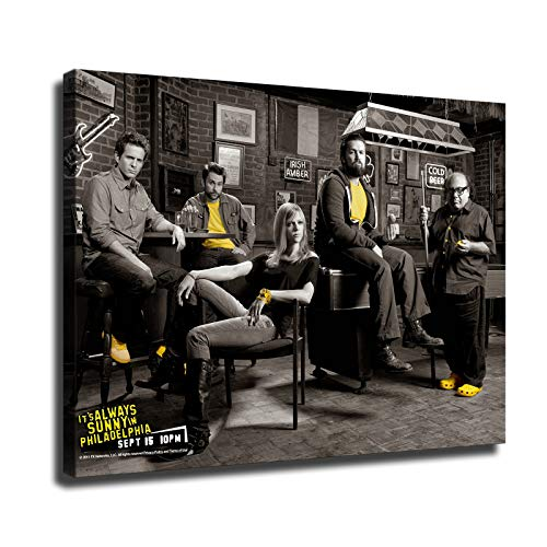Xishang Art It's Always Sunny in Philadelphia Canvas Prints Classic Movie Poster Wall Art for Home Office Decorations with framed 16'x12'
