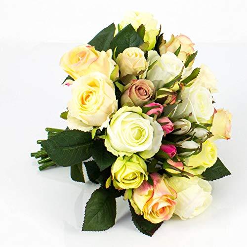 artplants.de Künstlicher Rosenstrauß Große Molly, 15 Rosen, 9 Knospen, Creme - Aprikose, 28cm, Ø 25cm - Deko Rosen - Kunstblumenstrauß