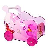 Homestyle4u 768 Lauflernwagen Puppenwagen Schmetterling für Kinder aus Holz Pink Rosa B x H x T: 37...