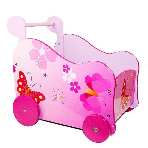 Homestyle4u 768 Lauflernwagen Puppenwagen Schmetterling für Kinder aus Holz Pink Rosa B x H x T: 37 cm x 46 cm x 51 cm - Holzpuppenwagen