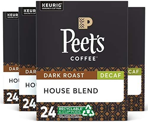 Peet s Coffee Decaf House Blend Dark Roast 96 Count Single Serve K Cup Decaffeinated Coffee product image