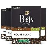 Peet's Coffee Decaf House Blend, Dark Roast, 96 Count Single Serve K-Cup Decaffeinated Coffee Pods for Keurig Coffee Maker