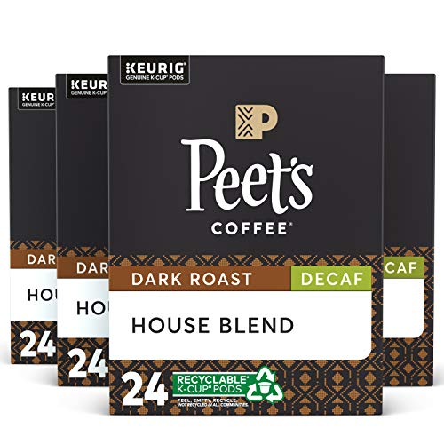 Peet's Coffee, Decaf House Blend - Dark Roast Decaffeinated Coffee - 96 K-Cup Pods for Keurig Brewers (4 Boxes of 24 K-Cup Pods)