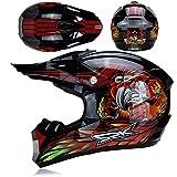 KAAM Casco de motocross con gafas, guantes, máscara, casco de moto para hombre y mujer, casco de protección para carreras Enduro Downhill Dirt Bikes ATV MTB BMX Quad Moto Offroad Casco (rojo, L)