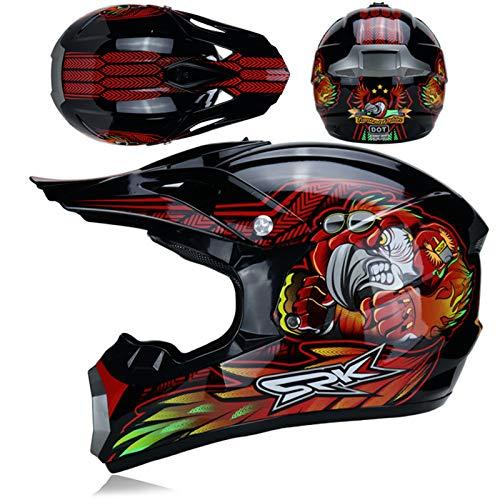KAAM Casco de motocross con gafas, guantes, máscara, casco de moto para...
