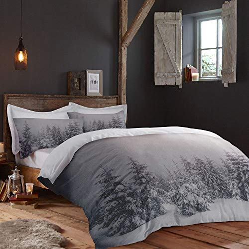 Fusion Home Furnishings - Set Copripiumino Starry Night-Easy Care, Grey, Duvet Cover Set: Single