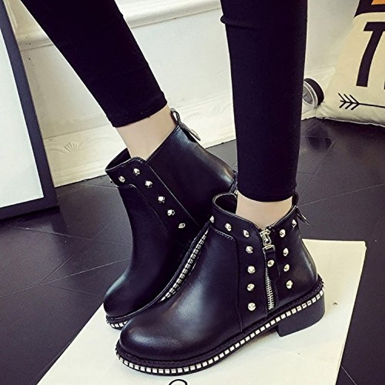 WYMBS Women's shoes Low-Heeled Autumn Winter Rivet Rhinestone Short Tube Rough with Martin Boots