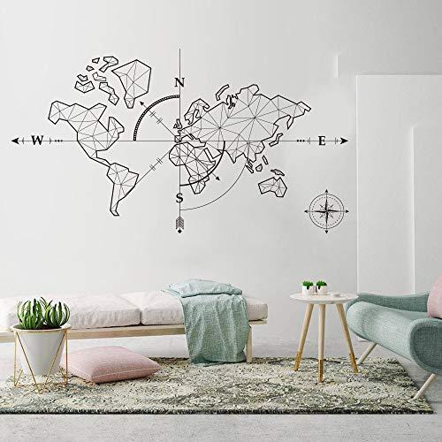 Vcnhln Mapa del Mundo brújula Tierra Pegatina de Pared Aula Mapa del Mundo Viaje Aventura Global Aventura Pared calcomanía Vinilo decoración 76X42cm